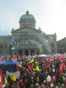 More than 12.000 persons  demonstrating in front of the Swiss government building